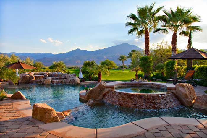 Views from the pool at a luxury home in Andalusia Country Club La Quinta