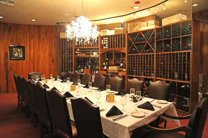 The wine cellar at LG's Prime Steak House La Quina