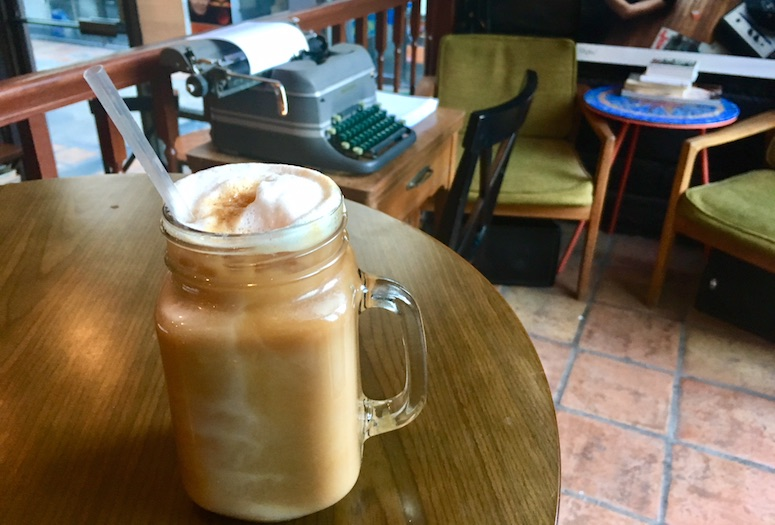 Gré Coffehouse & Art Gallery in Palm Springs offers the Upside Down Latte, which comes iced in a mason jar.  PHOTOGRAPHS BY TIFFANY CARTER