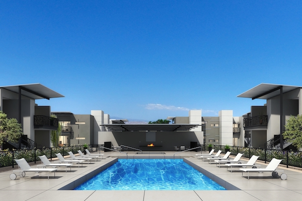 The community will have a 50-foot lap pool and spa along with an outdoor fireplace inspired by designer Philippe Starck.