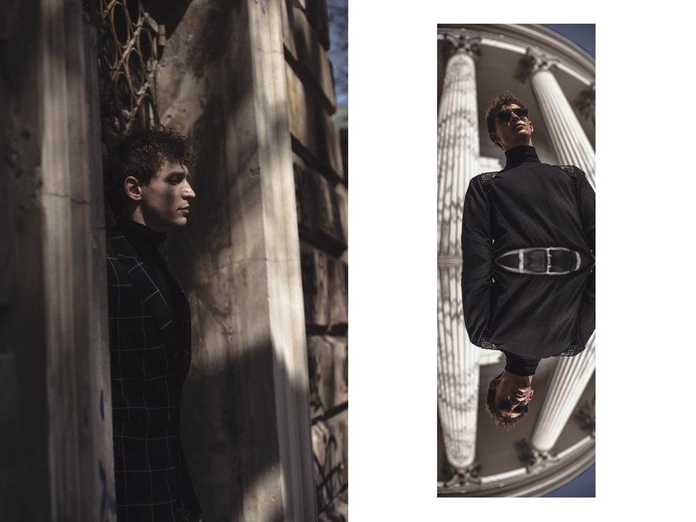 Left side: Blazer - Zara Turtleneck - H&M // Right side: Turtleneck - H&M Belt - COS Backpack - Hugo Boss
