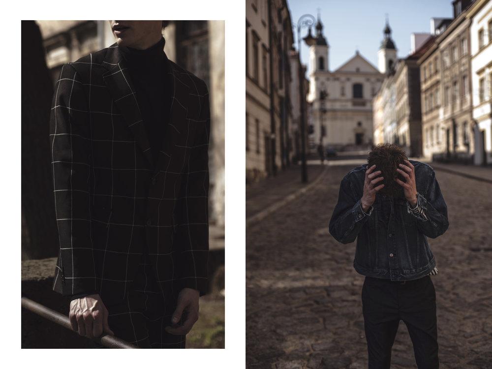 Left side: Suit - Zara / Turtleneck - H&M // Right side: Shirt, Jacket - H&M / Trousers - Mango / Belt - COS