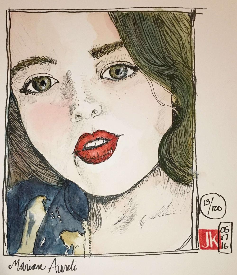 Marian Aureli with watercolor
