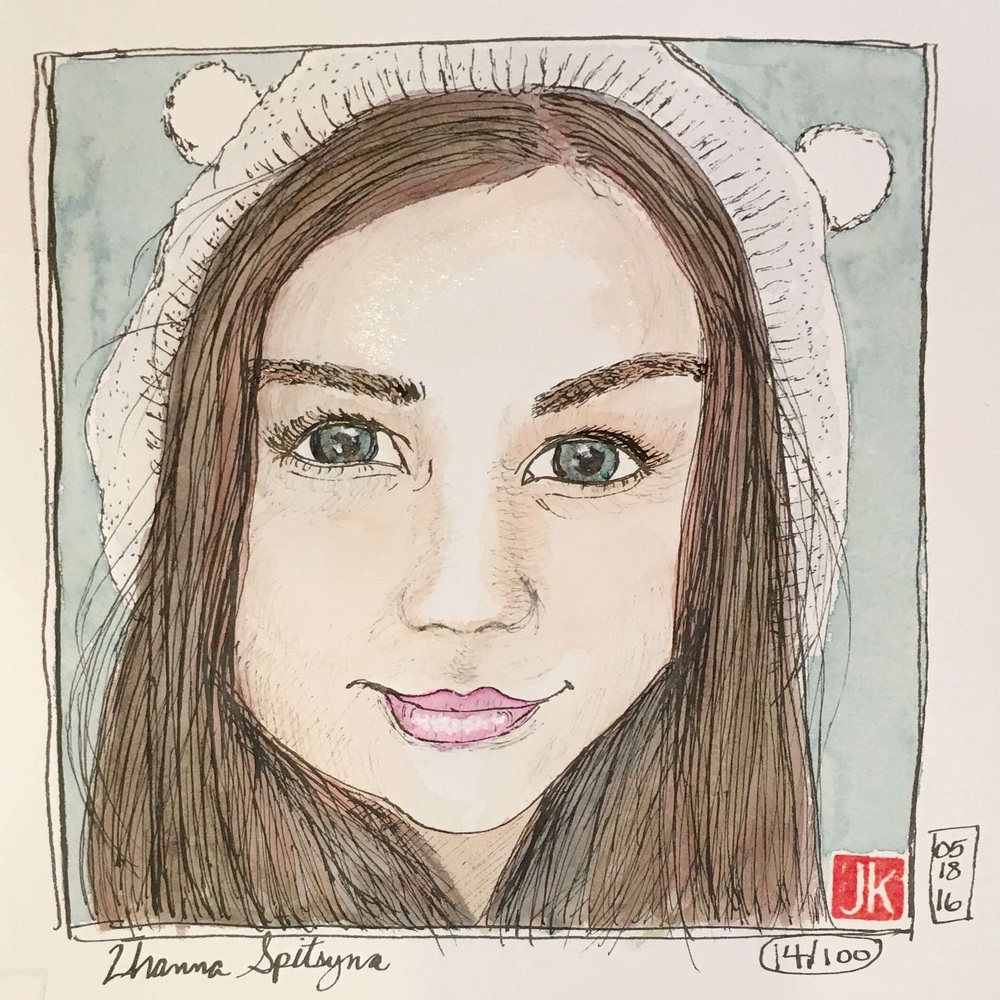 Zhanna Spityna with watercolor