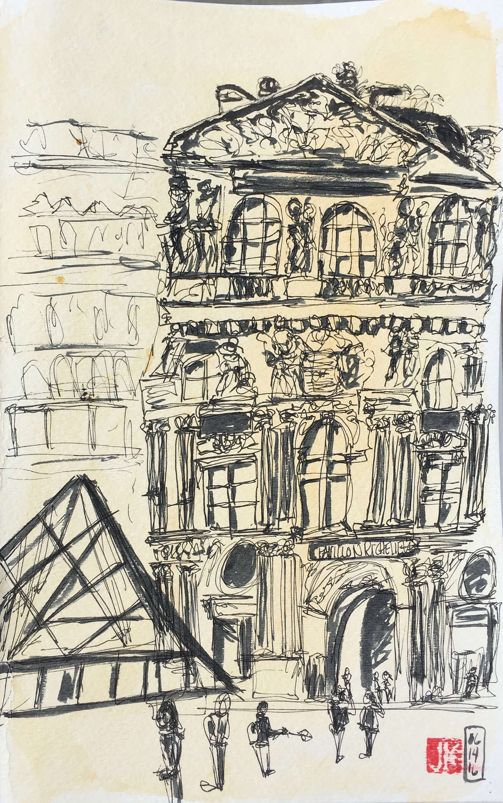 A sketch of the Louvre with just a brush pen on toned watercolor paper