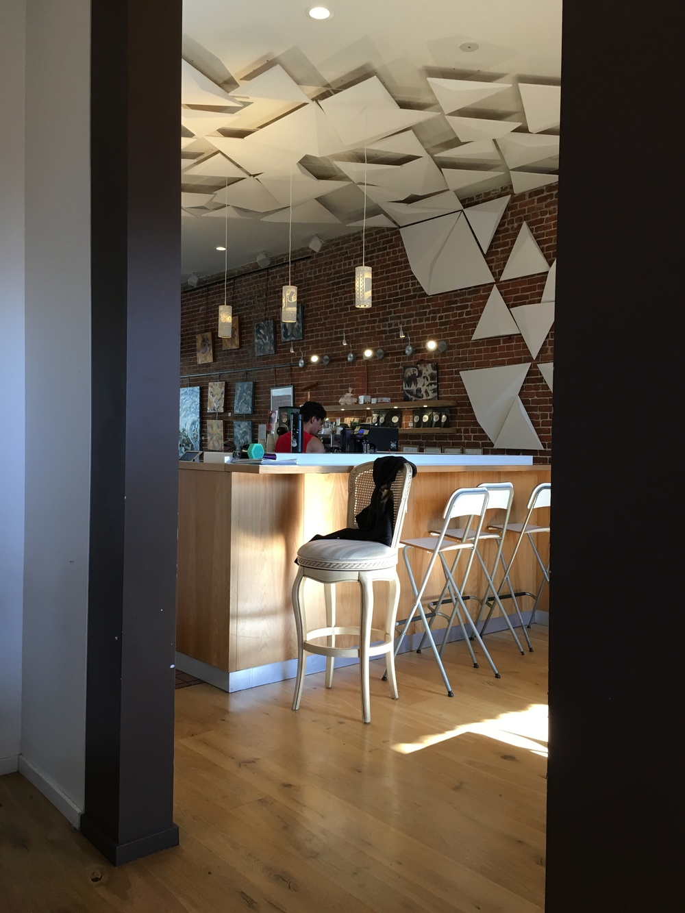 Looking from the back towards the front of the cafe