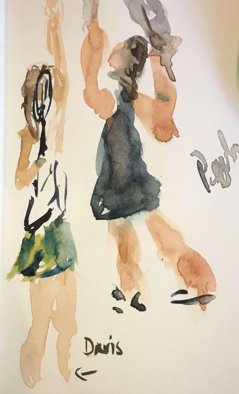 Davis & Pegula hitting serves in watercolor