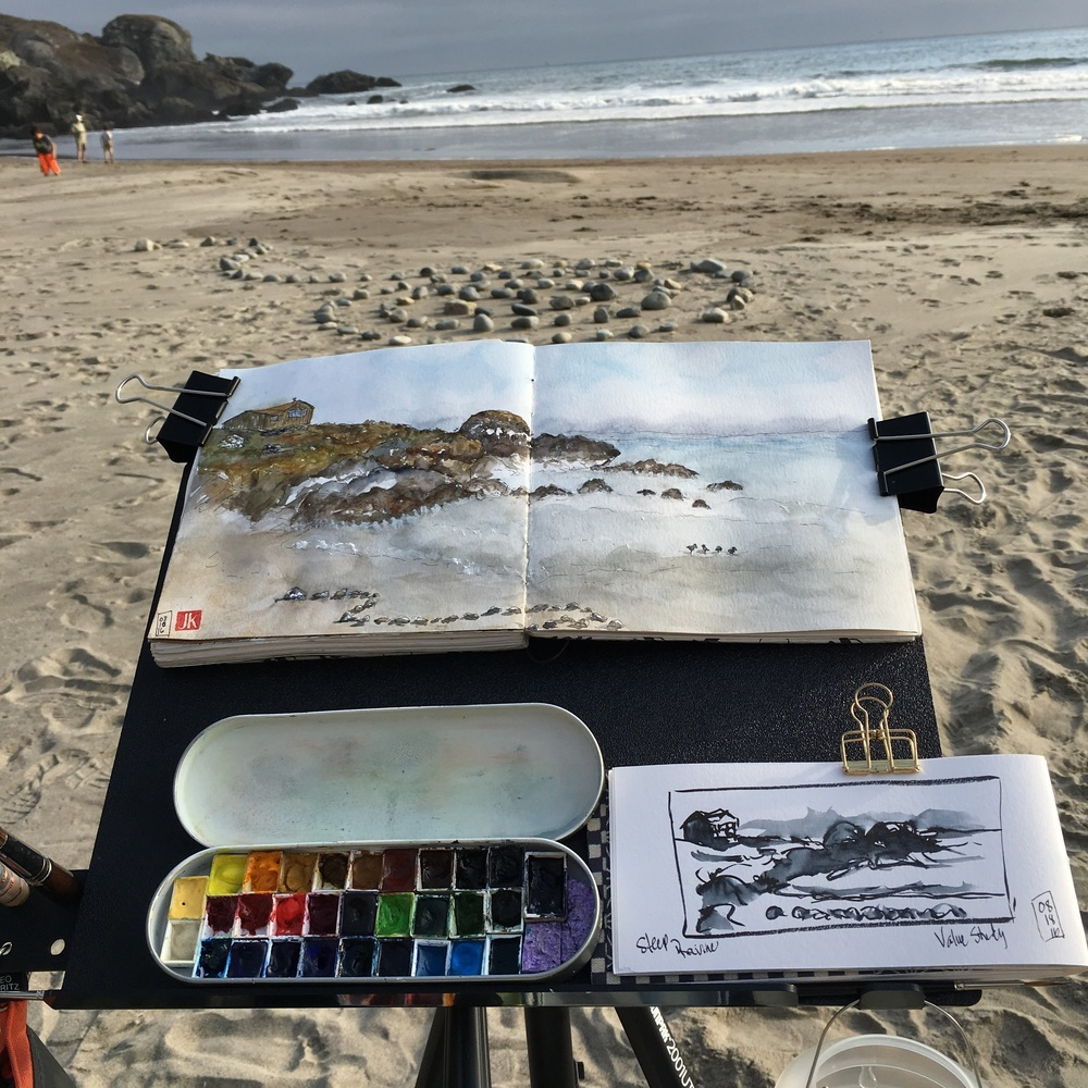 Sketching on the beach