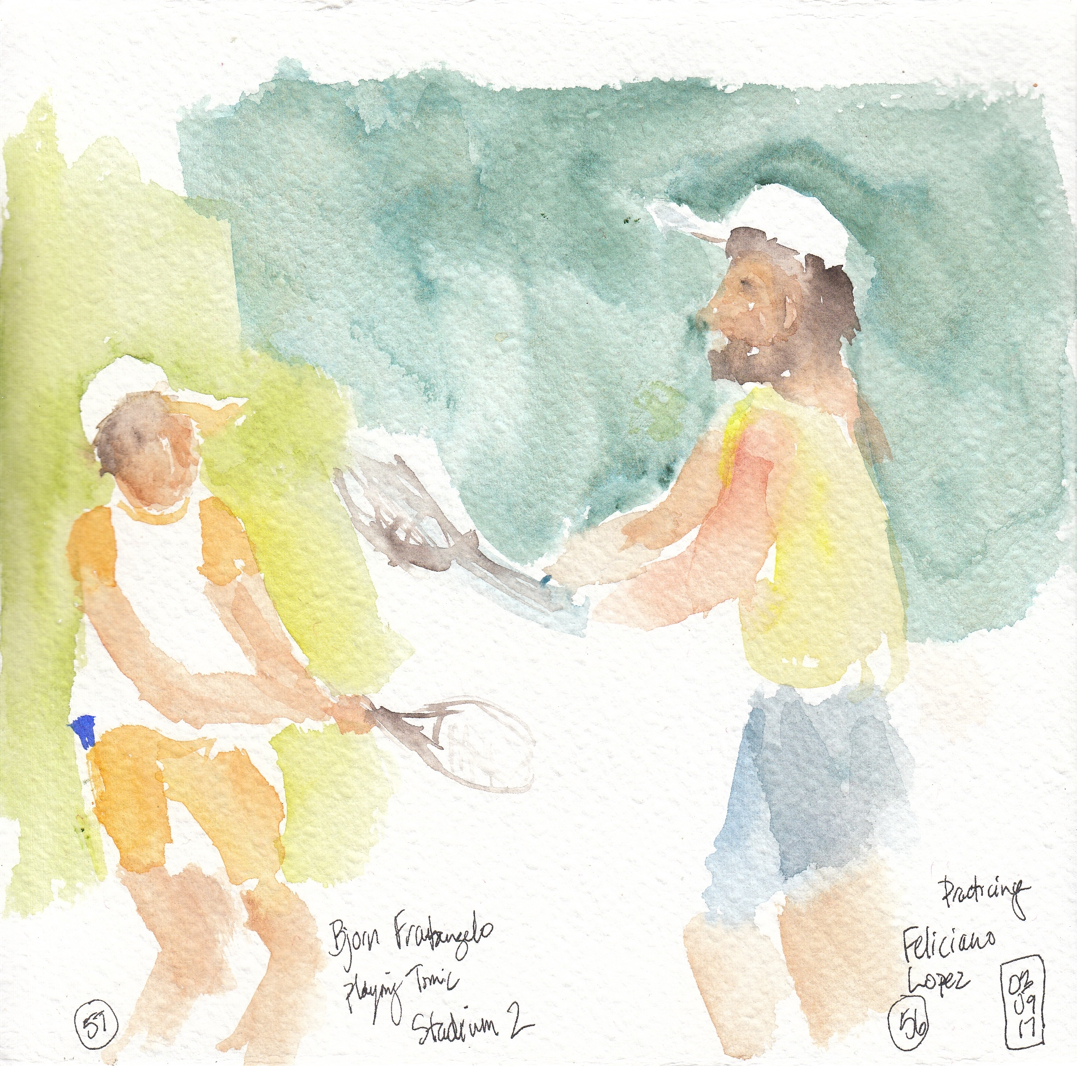 Nos. 57 & 58 - Feliciano Lopez practicing and Bjorn Fratangelo playing Tomic
