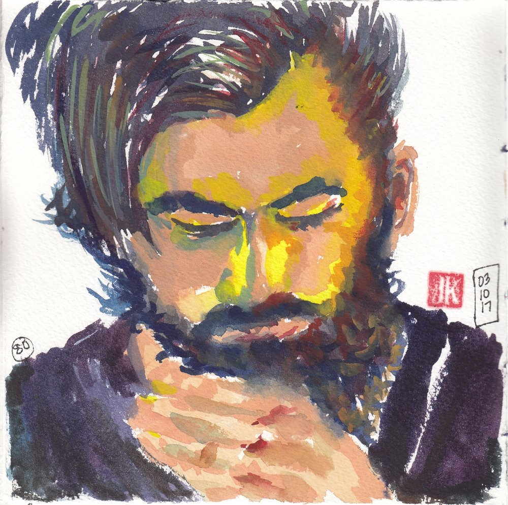No. 80 - a Sktchy-inspired portrait in gouache