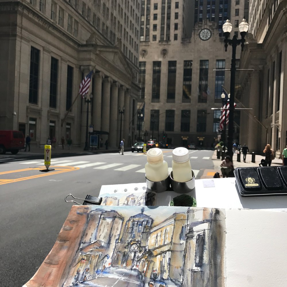 The view of the Chicago Board of Trade I was sketching
