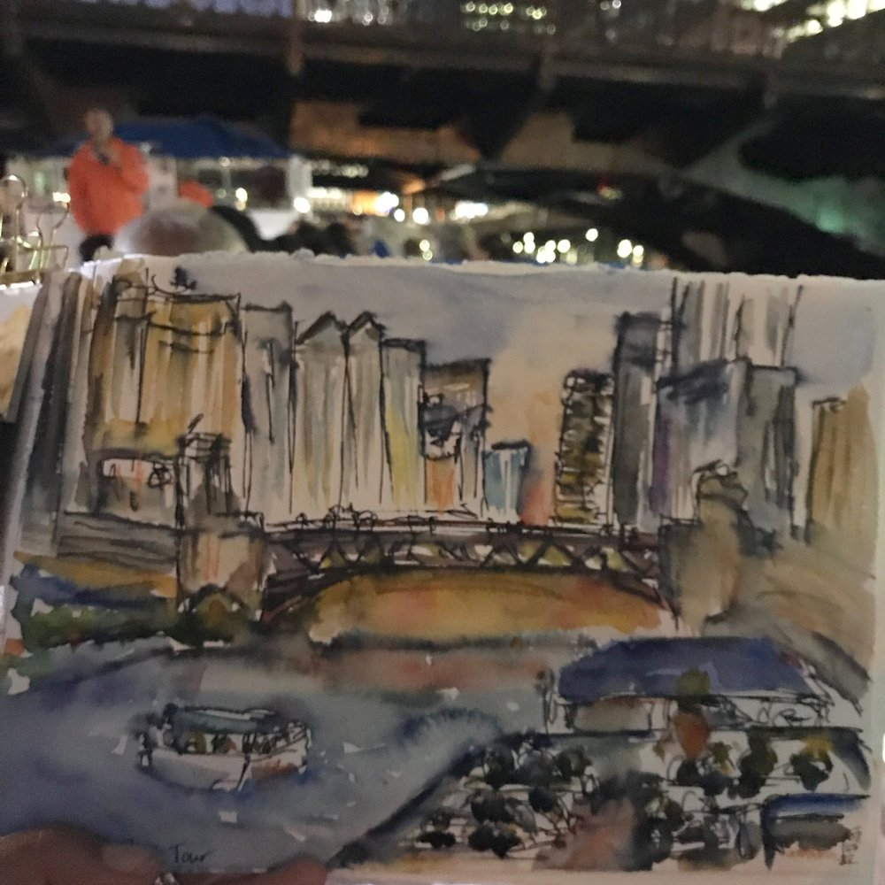 A sketch I did during an evening architectural boat tour