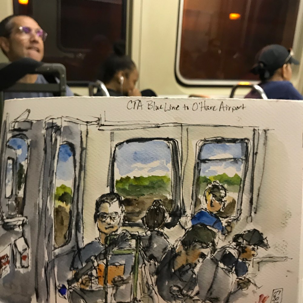 """Sketching on the """"El"""" back to O'Hare Airport"""