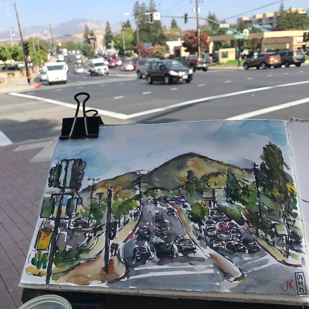 a sketch of Mount Diablo at the intersection of Ygnacio Valley & North Broadway