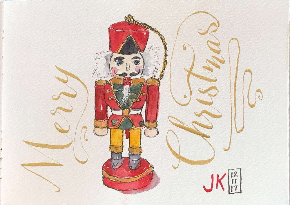 A nutcracker ornament