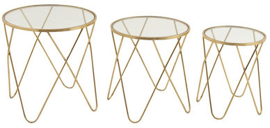 UMA Metal & Glass Accent Tables - Set of 3