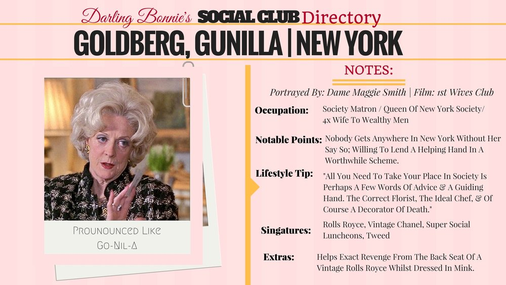 Darling Bonnie's Social Club Directory | Gunilla Garson