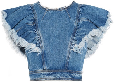 dbxcodressup --- Philosophy di Lorenzo Serafini - Cropped Ruffled Denim Top