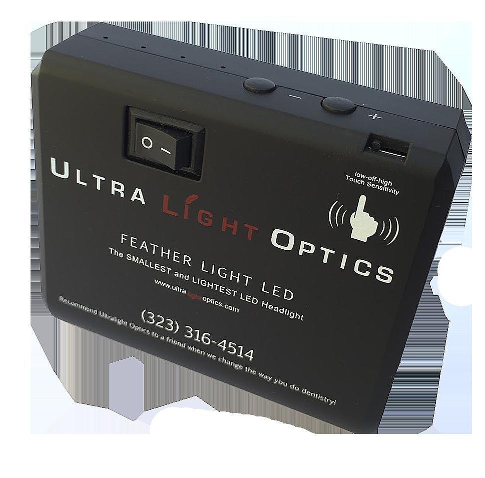 Feather Light by Ultralight Optics dentalloupes light touch battery pack