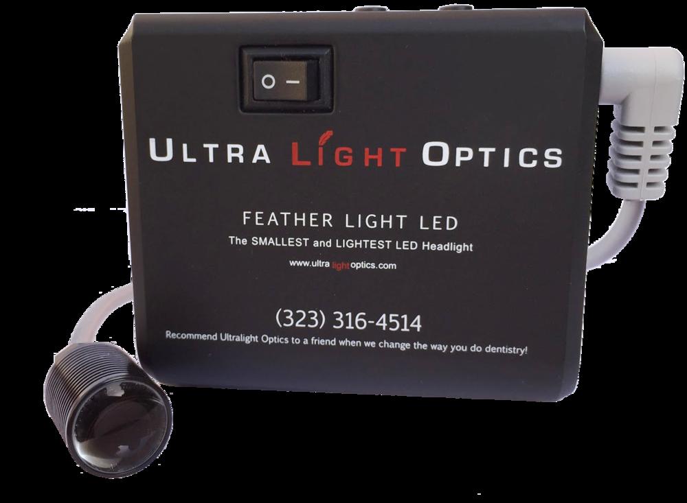 Feather Light LED headlight for dental loupes