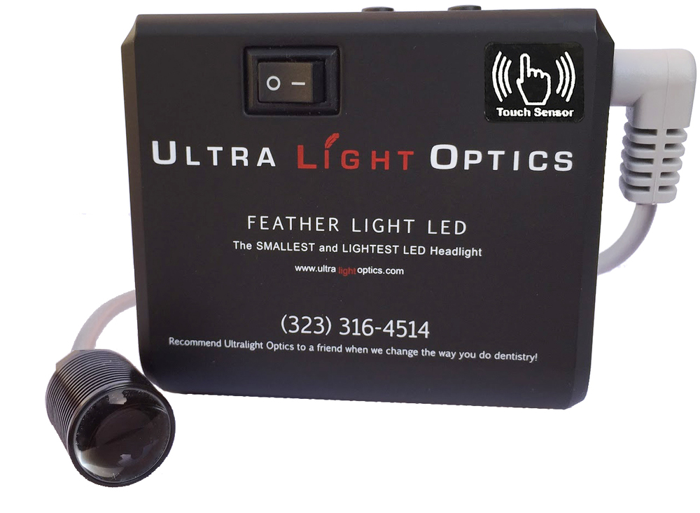 Feather Light LED headlight for dental loupes with touch sensor
