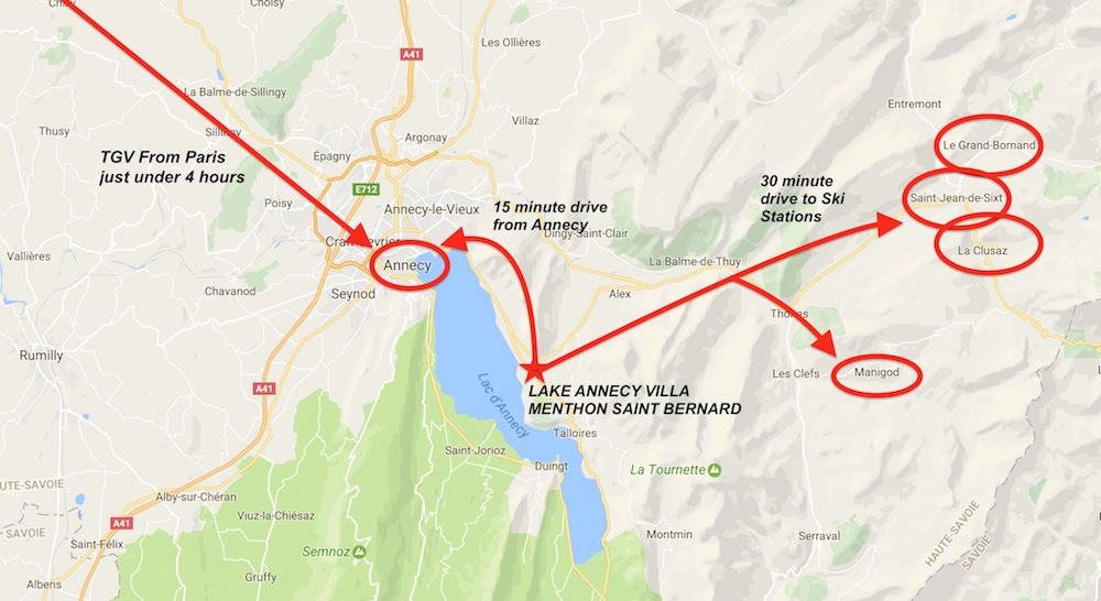 Arrive in Annecy in just under 4 hours by TGV or 1 hour by Air to Geneva Switzerland then1 hour from Geneva by car.