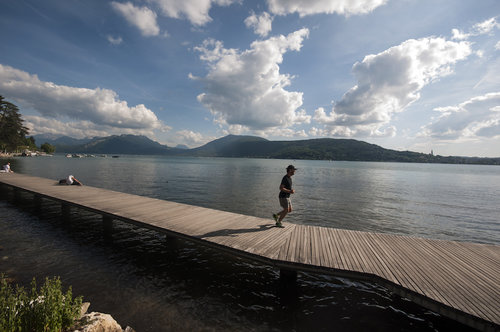 Although youre in the heart of the mountains youre just a short walk from a stunning beach lake annecy is touted as the cleanest lake in europe