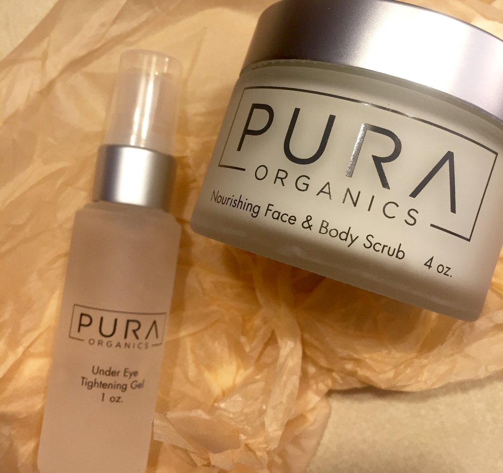 My Pura Organics products, fresh out of the box--the packaging they came in was lovely!