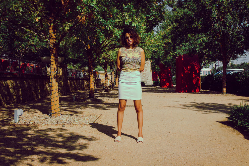 ZAN.STYLE LIGHT BLUE PENCIL SKIRT