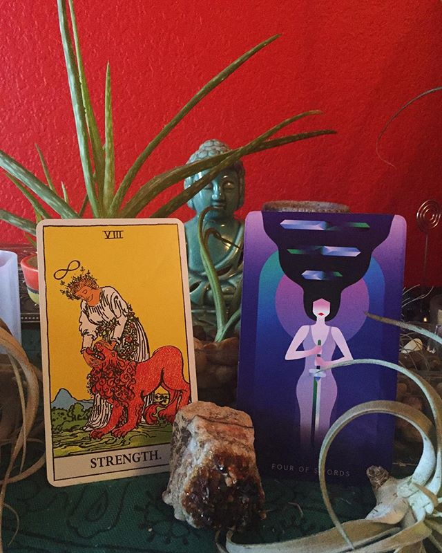 Doubt is normal. Trust is always inside of you, waiting like a warm embrace. ✨ I've really been enjoying using tarot as a tool for channeling my own intuition. The tarot reflects what I already know to be true but may need an extra reminding of. It can be little divine nudge in the right direction. ✨ Real Talk- This week I've been feeling anxious, overwhelmed, directionless and even defeated at times. Trying to get back  in the fight gym after injury, with no home base gym or coach, has been more mentally challenging than I had anticipated not to mention the physically. ✨ Today I pulled Strength and the 4 of cups. The perfect reminder to quiet my mind and connect with that inner wisdom and trust. A call to rest-not physically per say - but mentally and emotionally. Meditation, journaling, spending time in nature. That's what I see in my immediate future. ❤️ ✨ * * * * * * * * * * * #fourofcupa #tarotstories #innerguidance #photosinbetween #bloggervibes #flashesofdelight #lovelysquares #pursuepretty #petitejoys #livethelittlethings #inspiredyogis #personalgrowth #inspiredlife #intentionalliving #yogaofthemat #spiritualbosslady #liveauthentically #personaldevelopment #consciousliving #slowliving #intuitiveliving #integration #healing #tarot #spiritualhealing #ascension #modernmystic #myspiritualpath #mindbodyconnection #mindbodysoul