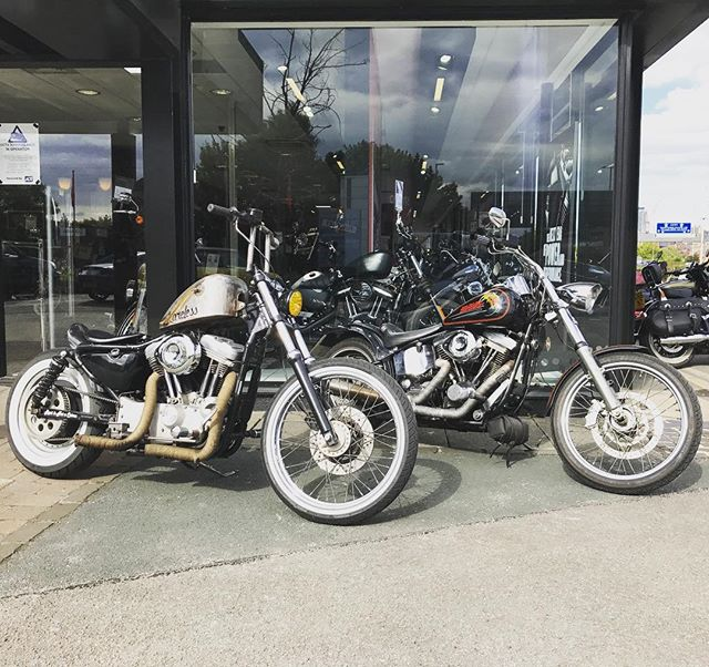 With 18 & 25 years of American made history combined with British tuning and style it doesn't get much better! - #harleydavison #harleydavidsonmotorcycles #harleydavidsonuk #sportster #softail #evoengine #sportster1200 #sportstersicknessuk #harleylife #customharley #bobber #chopper #ukriders