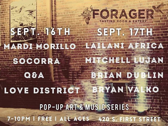 We will be doing a special set this Friday at the Forager. Show starts at 7:30pm! #theforager #lovedistrict #mardimorillo #socorra #Q&A #sanjose