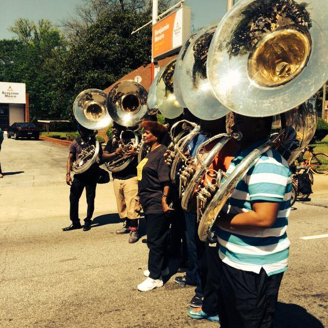 Atlanta City Councilwoman Cleta Winslow poses with the Tubas. Photo Courtesy of Atlanta Streets Alive.