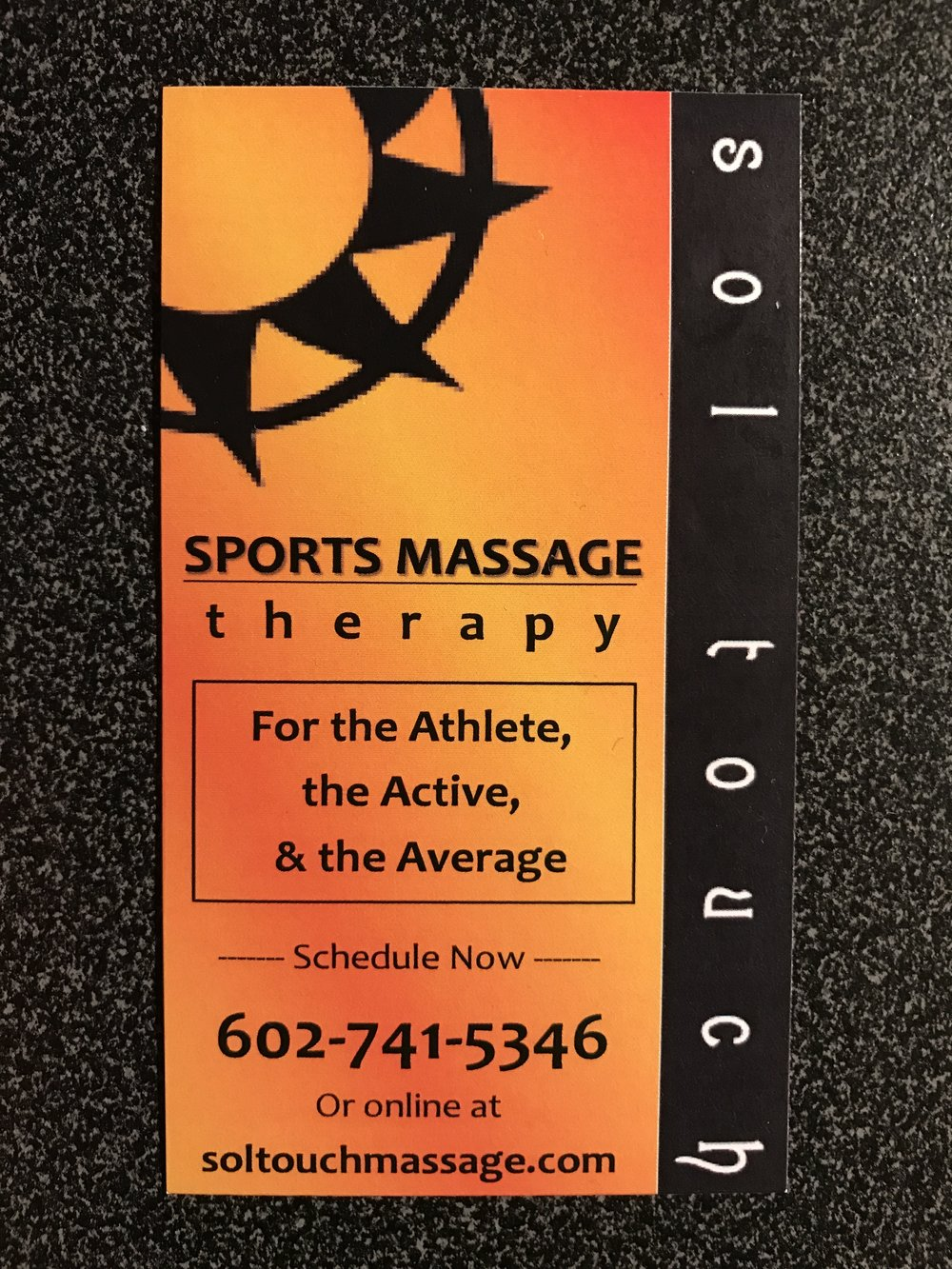 Massage business card printed in 2017.