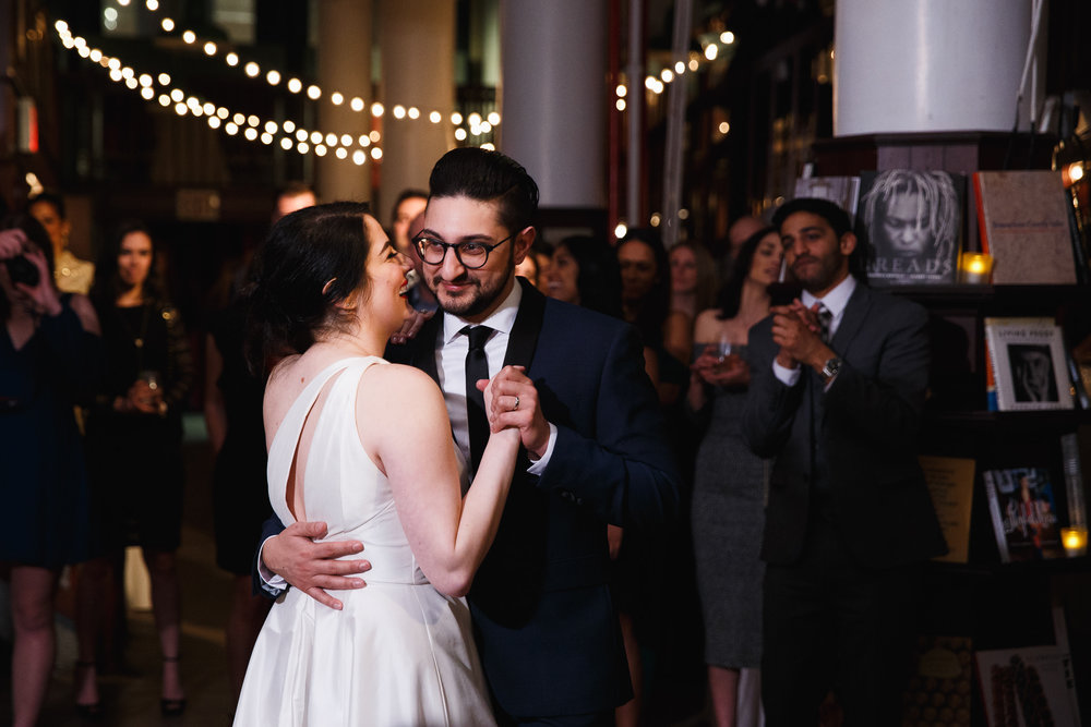 Bride and groom share their first dance at the Housing Works Bookstore wedding