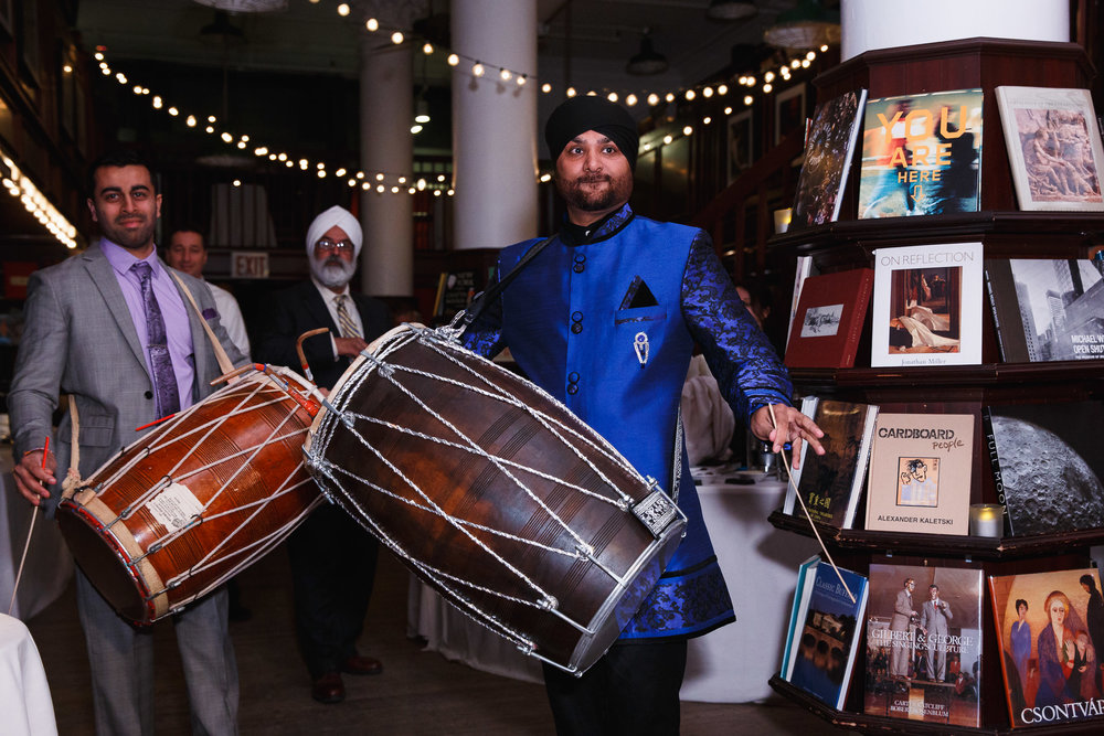 Dhol drummers at housing works bookstore wedding