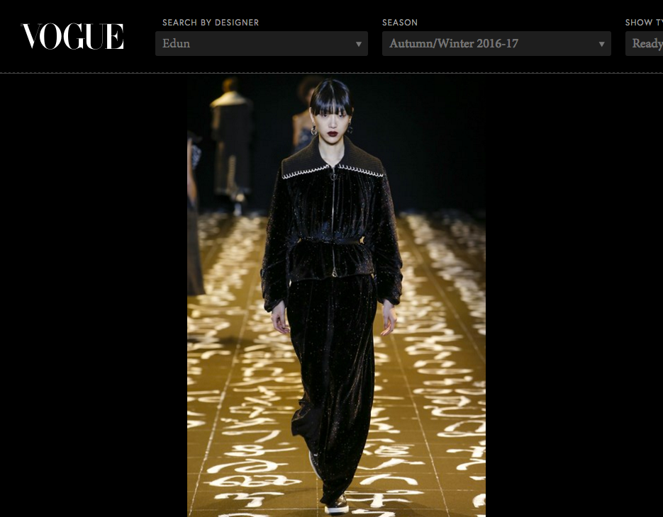 VOGUE - Online Vogue Magazine appearance, EDUN AW2016-17