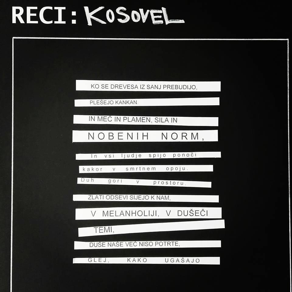 Recycling Event  - RECI:DESIGN Podobe recikliranja, A week long event of recycling poetry of Srecko Kosovel, Celje, 2016