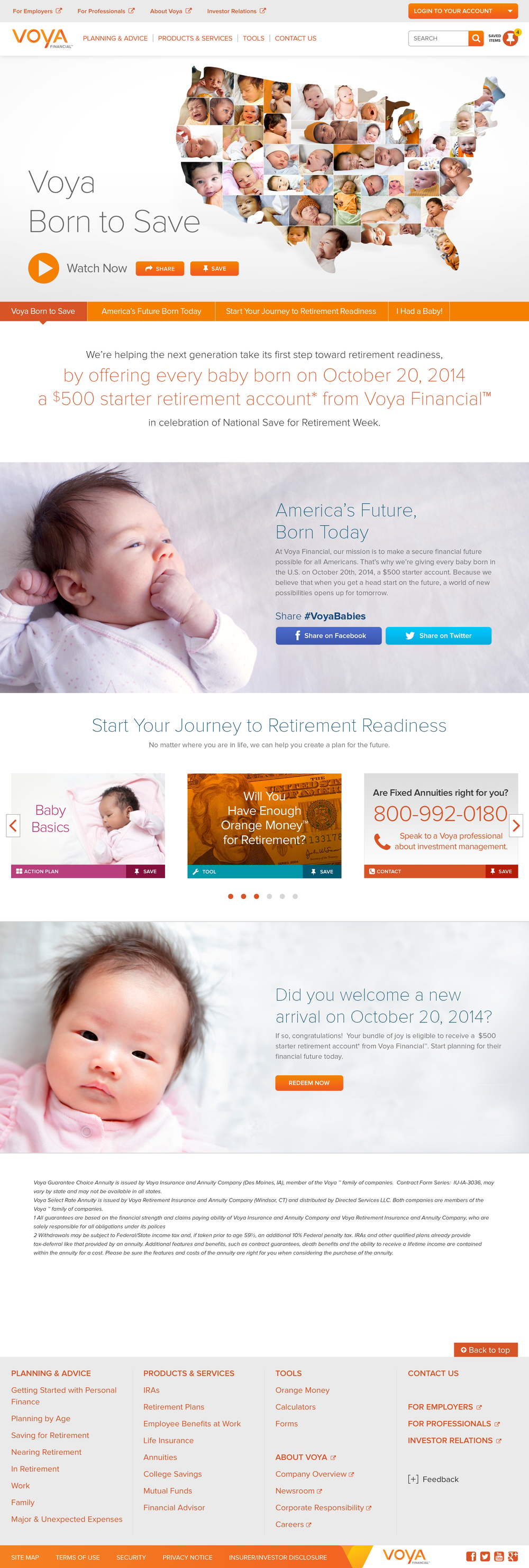 Landing page during #BorntoSave Campaign
