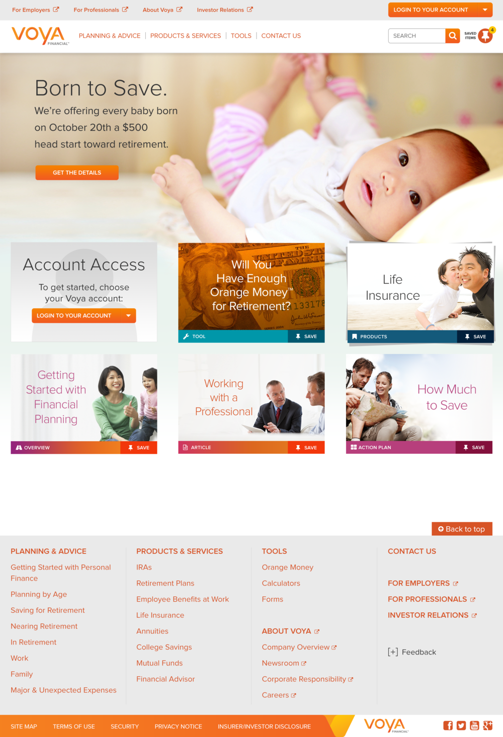 Voya.com during #BorntoSave Campaign