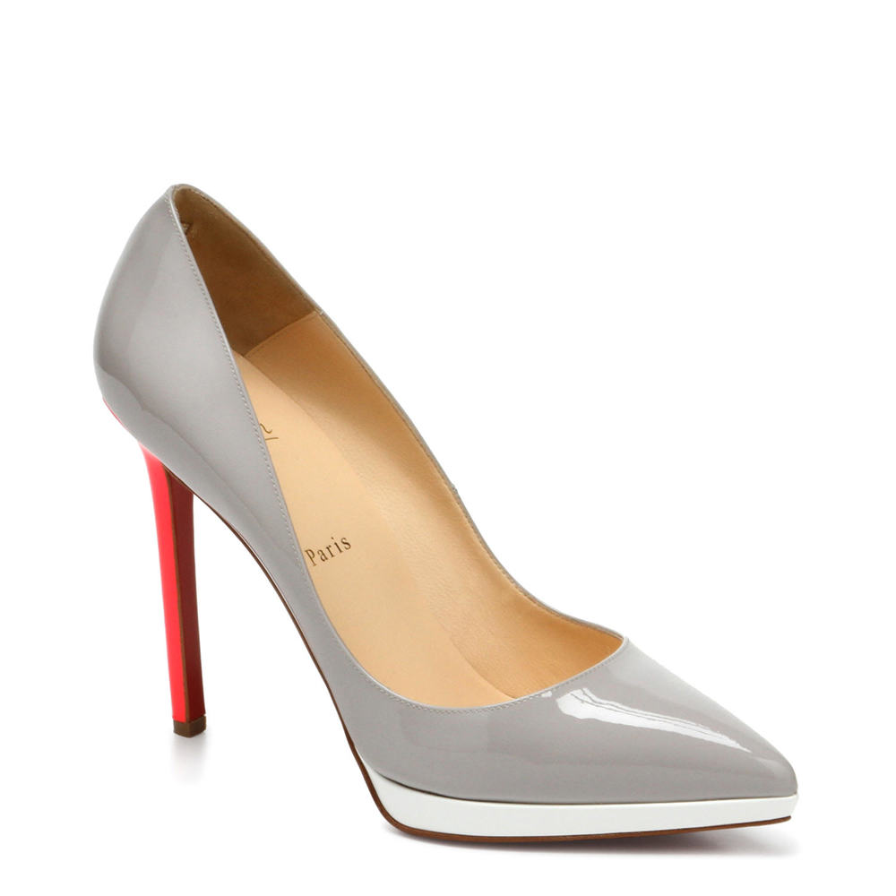 Gray and red high heel