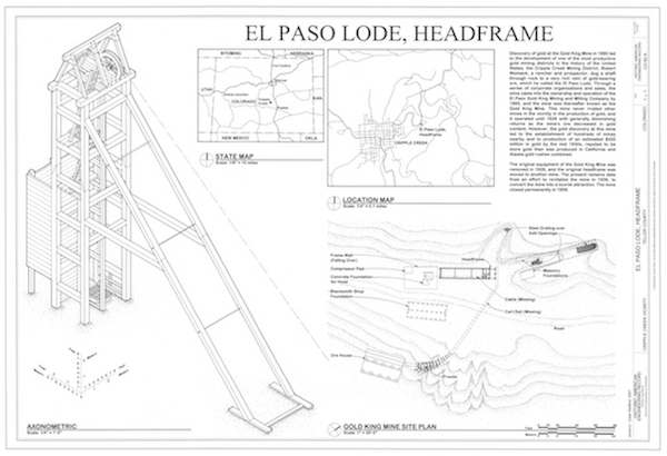 Casie Radford's Drawing of the HAER Drawing of the El Paso Lode Headframe