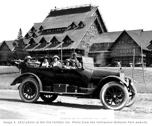 Photo 3: 1922 photo of the Old Faithful Inn. Photo from the Yellowstone National Park website.