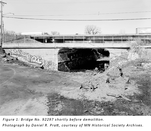 Figure 1: Bridge No. 92297 shortly before demolition. Photograph by Daniel R. Pratt, courtesy of MN Historical Society Archives.