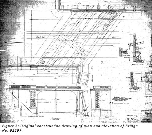 Figure 3: Original construction drawing of plan and elevation of Bridge No. 92297.