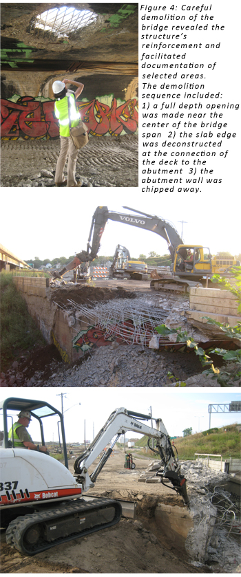 Figure 4: Careful demolition of the bridge revealed the structure's reinforcement and facilitated documentation of selected areas. The demolition sequence included: 1) a full depth opening was made near the center of the bridge span 2) the slab edge was deconstructed at the connection of the deck to the abutment 3) the abutment wall was chipped away.
