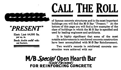 Photo of advertisement from  The Cement Age  Vol 13, Dec., 1911.