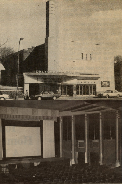Photographs of the Hollywood Theater's facade and auditorium taken in 1989. Source: Northeaster, April 5 and May 3, 1989.