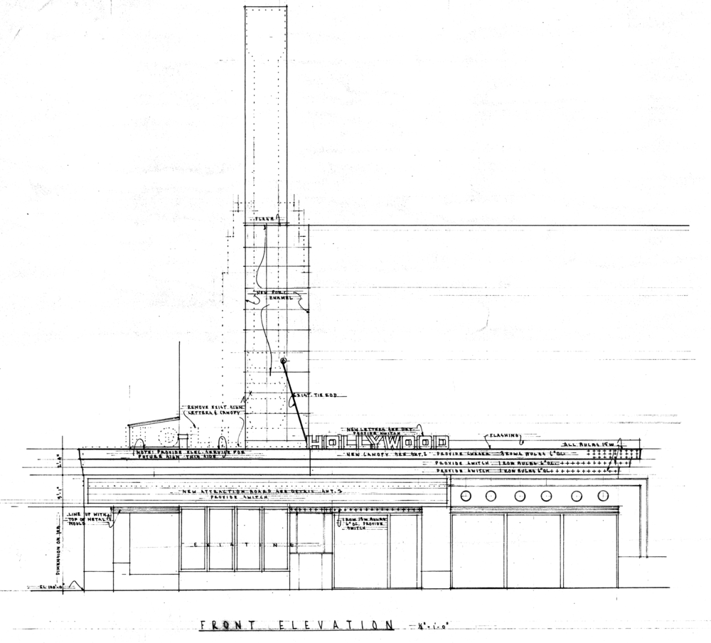 Excerpt from plans for the remodeling of the front facade prepared by Liebenberg & Kaplan in 1948. Source: Northwest Architectural Archives, Folder N36 JF.