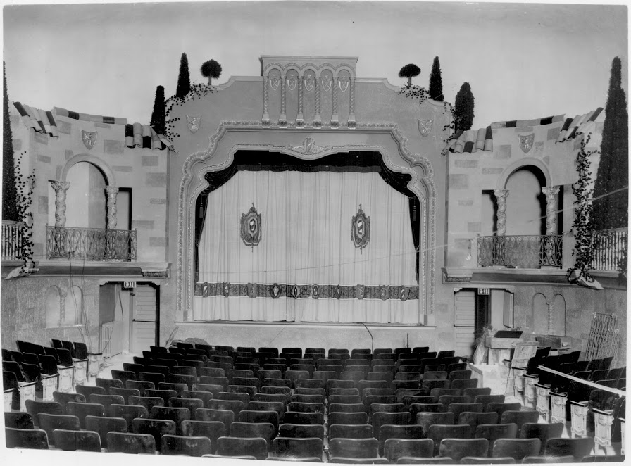 Historic photograph of the Granada's auditorium. Although the historic seating has been removed, the decorative wall and ceiling finishes remain today. Photo source: suburbanworld.com.